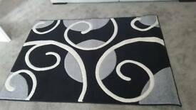 Black white and grey rug