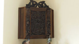 Corner Cabinet, Black Oak, Ornately Carved, One of a Kind