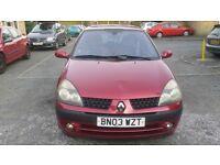 1.4 renault clio 5 door 66000 miles 2003 mot 18/7/17 petrol manual history 12 months aa cover