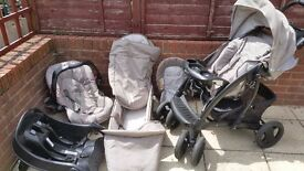 Pram/Pushchair Travel System Set with Car Seat and Car Base (Graco Bear & Friends) VGC