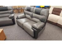 ScS Venus Grey & Black Leather 2 Seater Electric Recliner Sofa **CAN DELIVER**