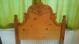 Pine headboard, good quality single, sturdy pine headboard.