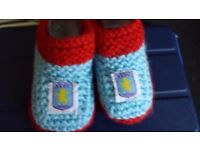 Hand knitted baby boys shoes x 1 pair