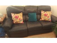 3 Seat Leather Sofa with single recliner (Navy)