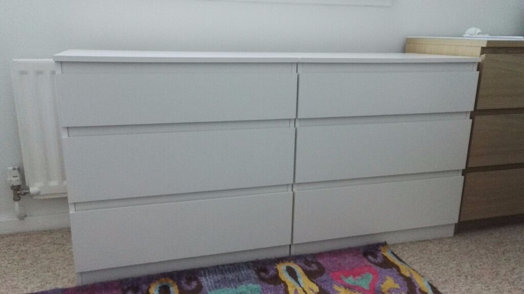 2 White Chests Of 3 Drawers Ikea Kullen