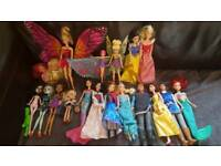 Disney Princess Dolls and Barbies and Monster High.