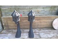 """£30. Oriental Pair Of Pagoda Type Tiled Roof Design Garden Ornaments on Stands. Height 43"""" inches"""