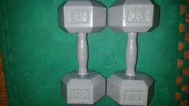 Pair of 15kg metal dumbbells 30kg total