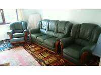 Green leather sofa set with reclining chair