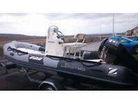 2011 Zodiac Pro 550 RIB package, Suzuki DF80 only 199hrs, Indispension trailer.