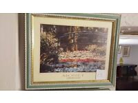 Green-framed and Titled Print of Monet - Japanese Bridge at Giverny