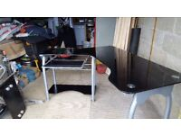 Desk with swivel base on wheels perfect for fitting into a corner. 2.5m fully extended x 600mm deep