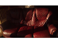 3 seater sofa and 2 single chairs red leather free.
