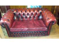 Ox blood leather 2 seater sofa x 2