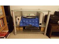 Glass TV Stand, 3 Tier, Chrome Legs