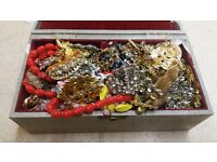 Vintage Box of Jewellery Brooches Broach Rings Silver - Great Collection - GOLD SILVER RINGS