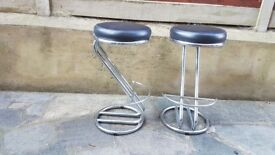 2 quality House of Fraser bar kitchen stools, chrome and black leather(faux) used