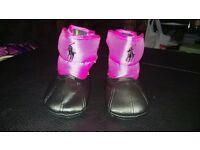 Girls Black & Pink Ralph Lauren Snow Boots Size 1.5
