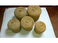 Set of Rattan baskets. ideal for bathroom or toilet. Not new but in good condition