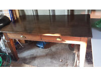 Large, sturdy antique dark oak table / desk with two drawers and cup handles