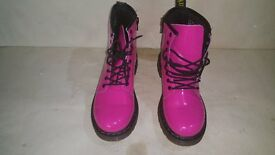 Dr Martens Delaney Teenage size 2 (HOT PINK) with inside leg side Zip REDUCED PRICE !