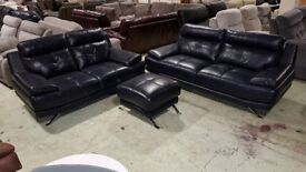 Three, two seater and a footstool leather, RRP £1800+