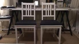 4x white IKEA STEFAN dining chairs with grey seat pads