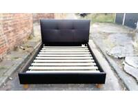 5' KINGSIZE BROWN REAL LEATHER BED FRAME GOOD CONDITION FREE LOCAL DELIVERY