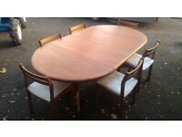 Dining table (2 leaf extension) 6 chairs, used in good condition, mahogany in colour