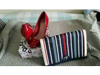 Red Shoes size 5 and clutch bag