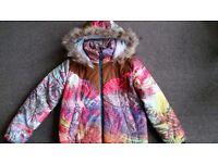 women ZARA style winter cotton coat/jacket hoodies with fax fur liner size 8/10