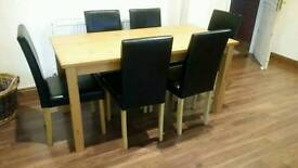 Oak effect dine table and 6 chairs