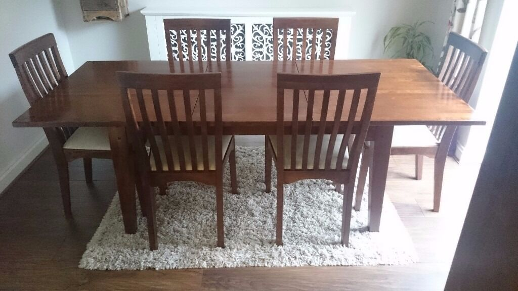 Laura Ashley Garrat Dark Chestnut Extending Dining Table And 6 Chairs