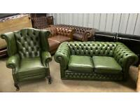 Stunning leather chesterfield 2 seater sofa and matching wing back chair £750