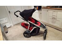 Double pushchair with all 3 raincovers & baby cocoon