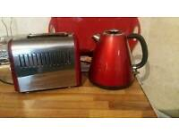 Red Breville toaster and kettle