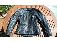 Richa Ladies Soft Black Leather Armoured Bike Jacket / Biker Casual