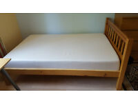 Real pine queen size bed and latex matrex