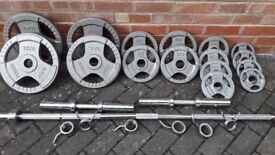BODY POWER OLYMPIC WEIGHTS SET WITH BARBELL & DUMBBELLS