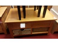 2 drawer 2 basket coffee table - wood