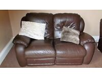 Brown 2 seater leather recliner sofa
