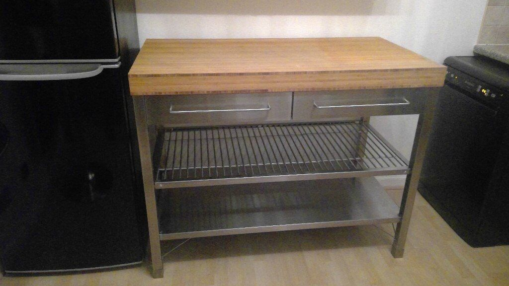 Ikea rimforsa kitchen island work bench stainless steel for Ikea rimforsa work bench