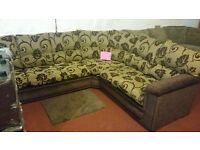THE 3 C 2 BROWN CREAM FLORAL CORNER SOFA HAND MADE AMAZING QUALITY 1 OFF DEAL £549 RETAILS FR £999