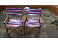 Two colourful garden chairs
