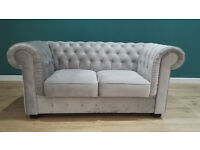 Ex Display 2 Seater Silver Velvet Chesterfield Sofa. Approx 170cm. Free Delivery Up To 20 Miles