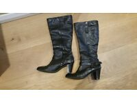 Ladies black leather boots. Comfortable and in very good condition . £20 +£3 P and P