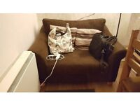 beautiful cozy brown love sofa