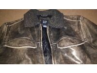 Gap Real Leather Brown Bomber Jacket