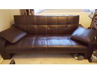 Brown sofa bed.