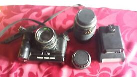 CHINON CE-4s 35mm Film Camera With Flash & Chinon 50mm, plus (2) Lenses and Power Winder